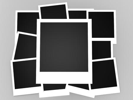 marco blanco y negro: Fotos instant�neas aislados en un fondo blanco  Foto de archivo