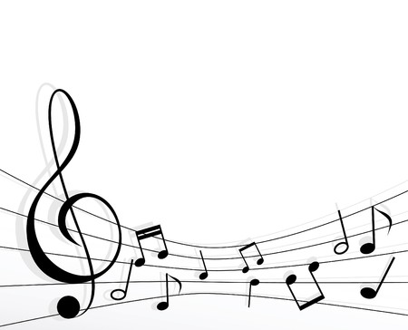 musical notes with a shadow on a white background Vector