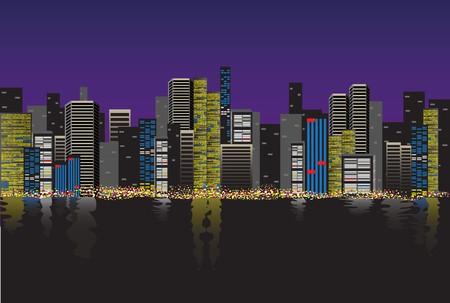 City Skyline at night Stock Vector - 7601439