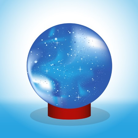 Vector drawing. Magic Ball fortune-telling on the stand