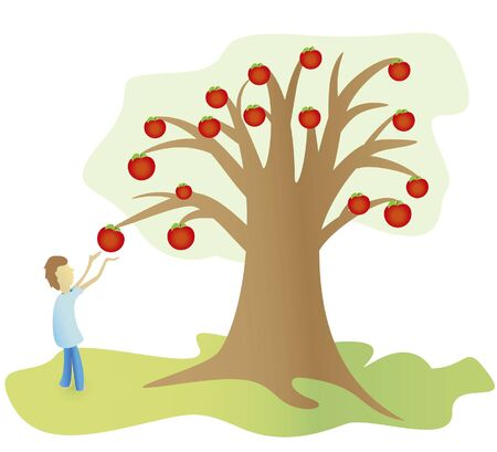 disrupt: child breaks an apple from the tree Illustration