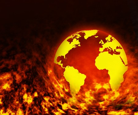 doomsday: Burning in the fire the globe for your design