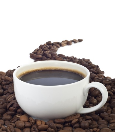 Black coffee isolated on white for you design photo