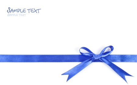 shimmery: Beautiful blue gift ribbon on a white background