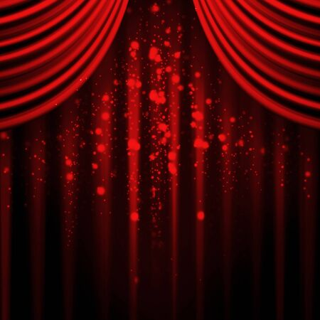 curtain background: Red stage curtain with light and shadow