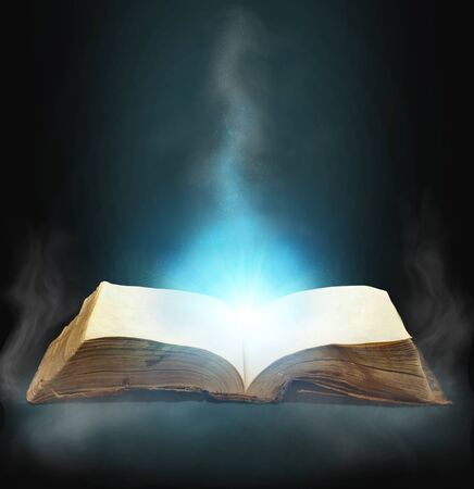 diary page: Opened magic book with magic light for you design