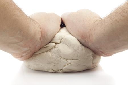 hands, knead the dough for ravioli photo