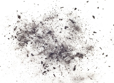 particles of charcoal on a white background. Placer cosmetics