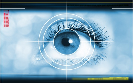 lasers: high-tech technology background with targeted eye on computer display
