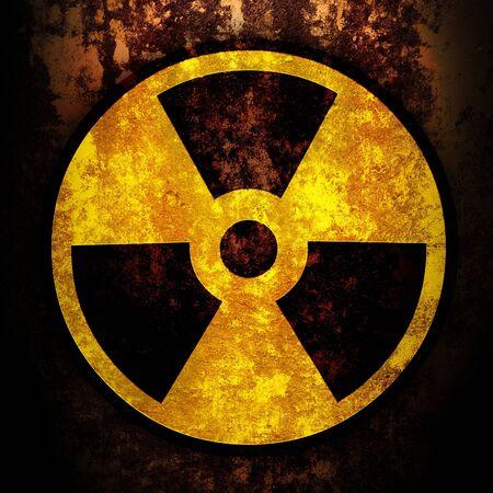 riesgo quimico: signo de radiaci�n en una textura oxidada Foto de archivo