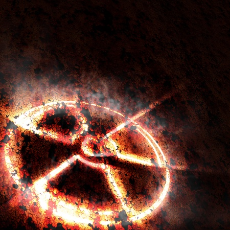 nuclear symbol icon: sign of radiation on a rusty texture