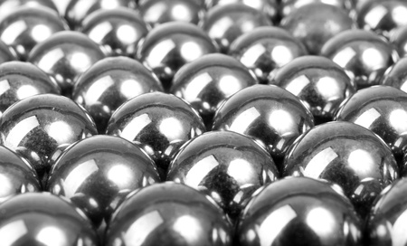 icey: exposed metal gray balls in a row