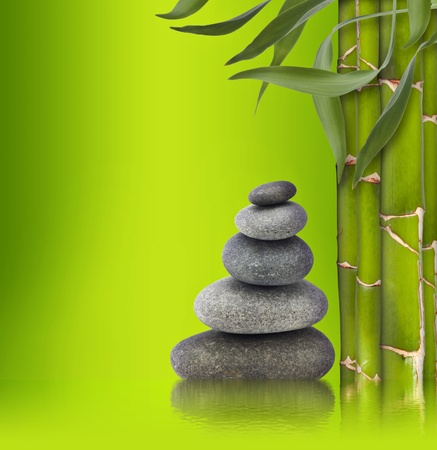 Spa still life. bamboo and stone for you design photo