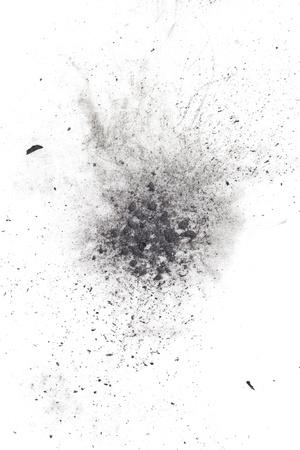 пыль: Частицы угля на белом фоне. Placer косметики Фото со стока