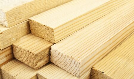 Carpentry. Wood planks Stock Photo