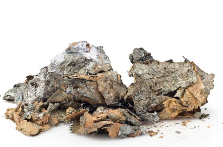 ore: pieces of metal on a white background