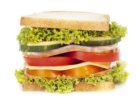 ham sandwich: Healthy ham sandwich with cheese, tomatoes, pepper and lettuce