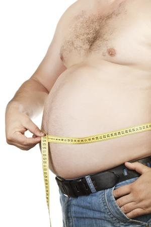 sobrepeso: Abdomen masculino medici�n de la fotograf�a color
