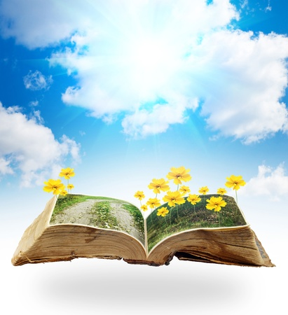 collage of flowers on the grass, growing from a book in the sky photo