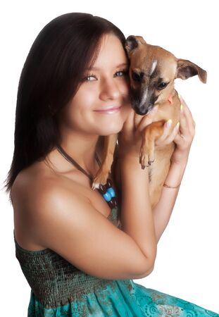 cute girl with a small dog on a white background Stock Photo - 9834522