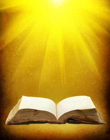 history background: Old book with Ray of light