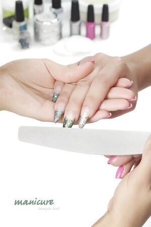 Beautiful woman hands with manicure Stock Photo - 9968698
