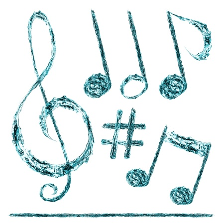 musical notes taken out of the water on a white background Stock Photo - 10048781