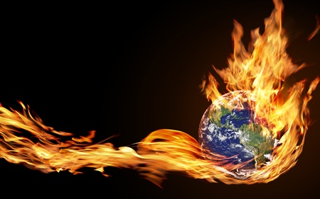 the end: hand holds the fire of the globe