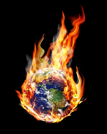 end of the world: globe in the fire and smoke