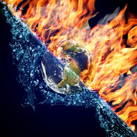 Globe in Fire and Water Stock Photo - 10348053