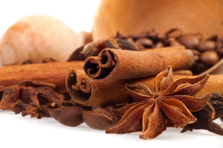 aromatic spices on a white background photo