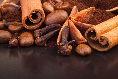 indian bean: aromatic spices, coffee, for your design Stock Photo