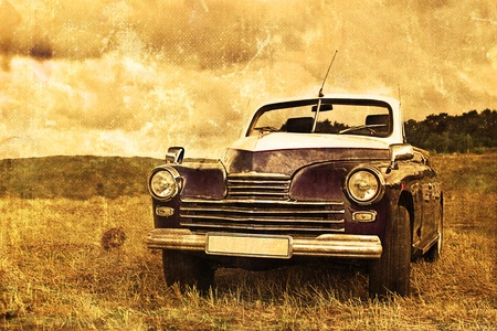classic car: worn, scratched old car photos