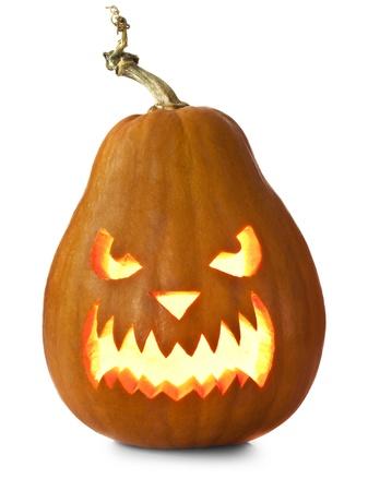 scary pumpkin: Halloween pumpkins isolated on white