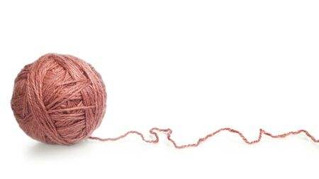 clew: tangle of knitting yarn on white background Stock Photo
