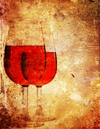 glass with red wine: An old book paper with a picture of glasses of wine Stock Photo