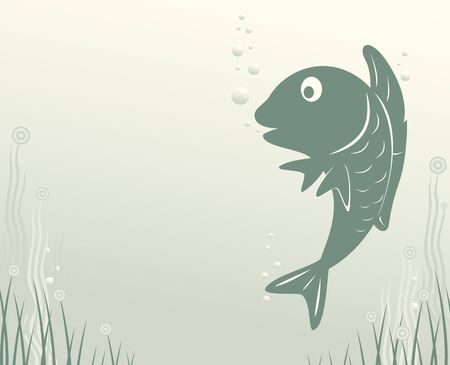 fish with seaweed and air bubbles Vector