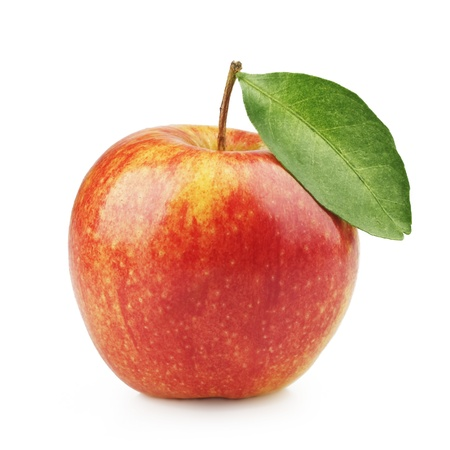 Delicious red apple with a leaf on a white background