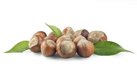 unbroken: Nuts filberts on white background