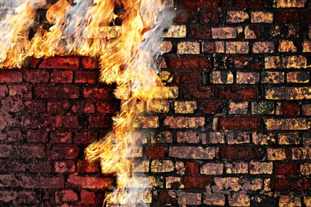 Grunge brick wall with fire for you design Stock Photo - 12106377
