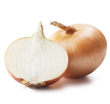 Ripe onions on a white background 免版税图像