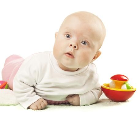 Little girl lying on tummy Stock Photo - 12363912