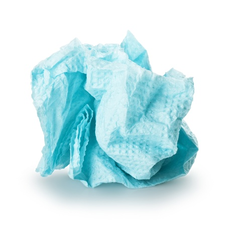 crumpled blue paper napkin on a white background photo