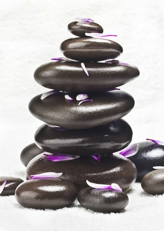 Spa stones with flowers on a white background Stock Photo - 12363975