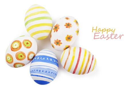 Painted Easter eggs on a white background photo