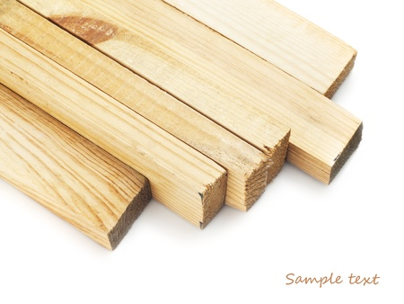 forest products: Wood planks on a white background