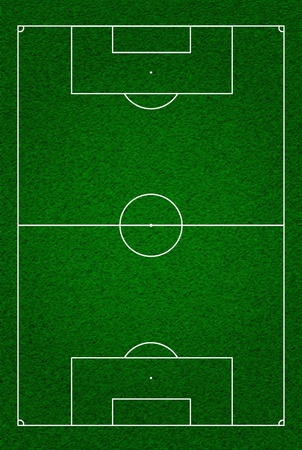 kick out: Soccer or football field or pitch top view with proper markings and proportions according standards