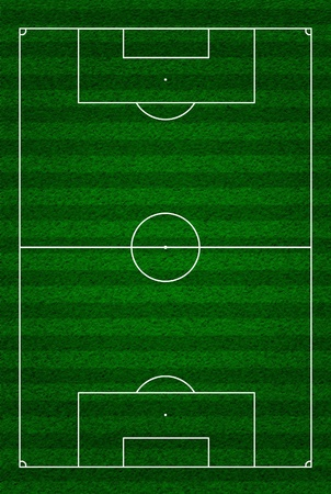 according: Soccer or football field or pitch top view with proper markings and proportions according standards