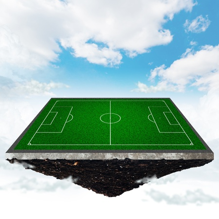 crossbars: island with a soccer field on the background of the cloudy sky Stock Photo