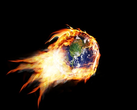 greenhouse effect: globe in the fire and smoke